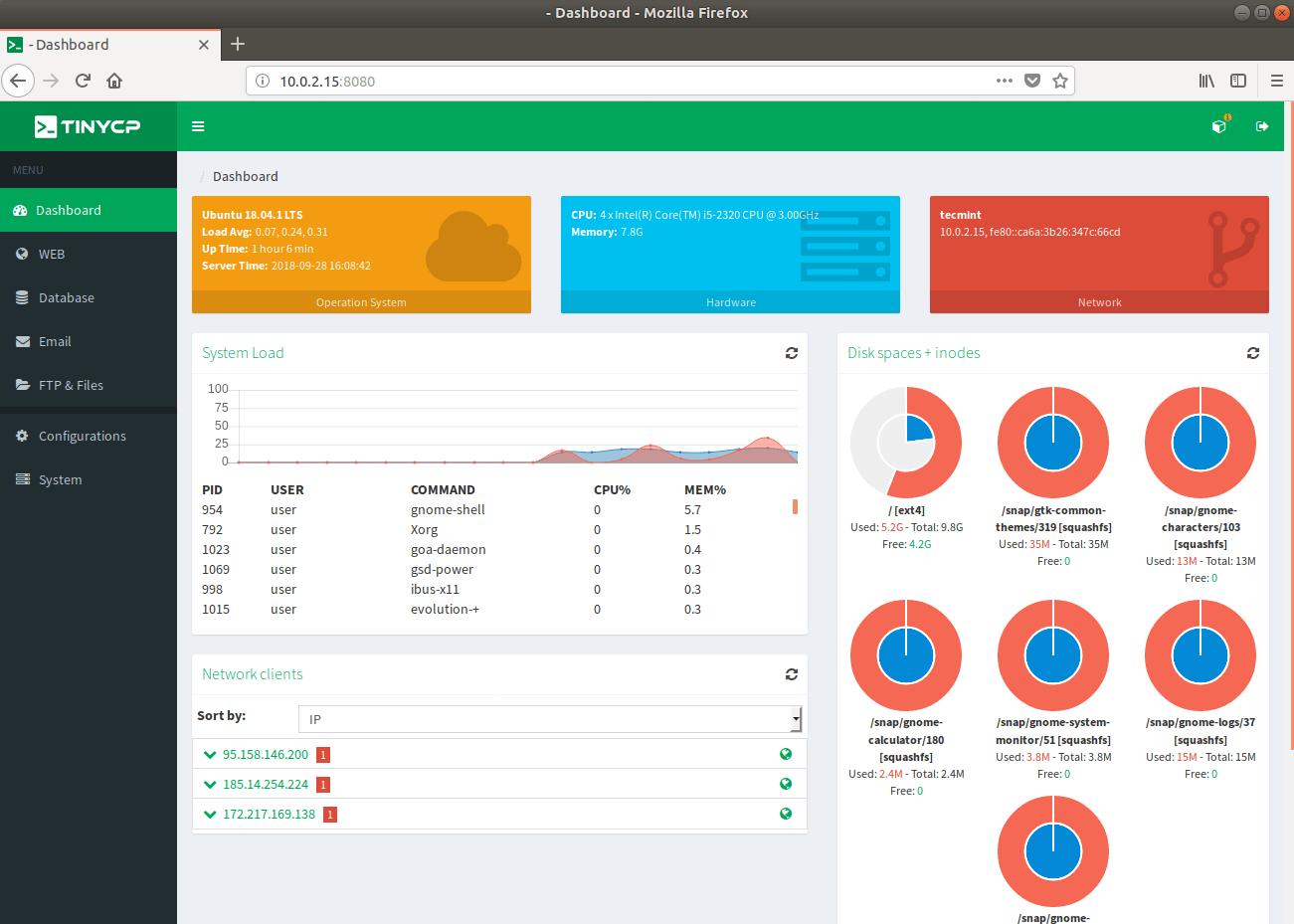 TinyCP – легкая панель управления для управления системами Linux