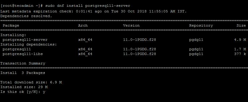 Как установить PostgreSQL 11 на Fedora 28/27/26