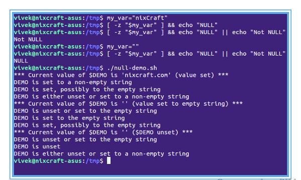 Оболочка Bash: выясняем, имеет ли переменная значение NULL ИЛИ нет